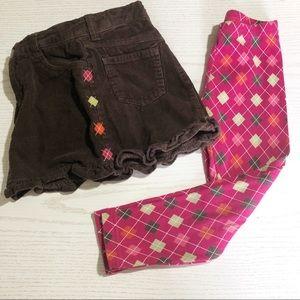 GYMBOREE leggings with matching corduroy skirt